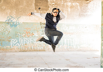 Hip hop dancer in the air