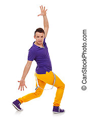 hip hop dancer isolated over white background . young man in...