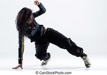 Hip-hop dancer on a white background