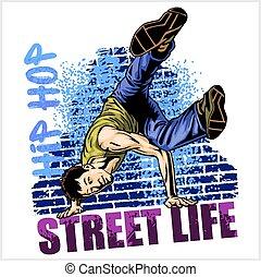 Hip hop dancer on grunge background - vector illustration...