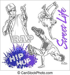hip hop dancer on white background - hip hop dancer and...