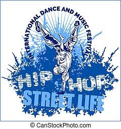hip hop dancer on white background - hip hop dancer on...