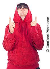 Hip Hop dancer pointing up - Hip Hop dancer in red hoody...