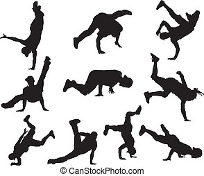 Hip Hop dancers - Silhouettes of hip hop dancers