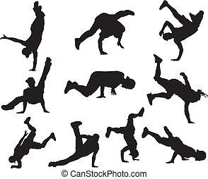 Hip Hop dancers - Silhouettes of hip hop dancers