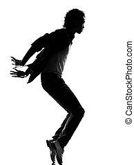 hip hop funk dancer dancing man - full length silhouette of ...
