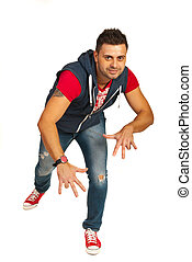 Hip hop guy - Hp hop guy dancing isolated on white...