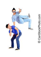hip-hop guys - Two professional dancers dancing hip-hop at ...