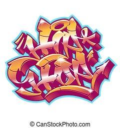 Hip-Hop in graffiti funky style.