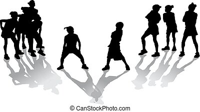 Hip Hop Kids - Silhouette with shadows of two groups of hip...