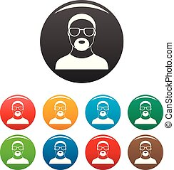 Hip hop man icons set color