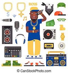 Hip hop man vector. - Hip hop man musician with microphone...
