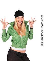 hip-hop, menina, gesto, ideal