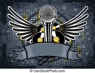 Hip Hop - Music emblem with microphone on the grunge...
