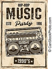 Hip-hop music party vintage poster with boombox