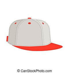 hip hop or rapper baseball cap. Vector illustration. flat...