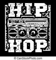 Hip Hop print - Street style black white print with big ...
