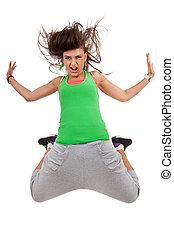 hip-hop style woman dancer in air