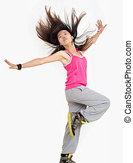 Hip-hop - Teenage girl dancing hip-hop studio series