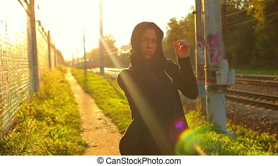 Hip-hop woman  - Woman hip-hop woman on urban background.