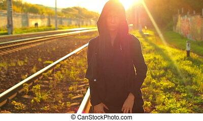 Hip-hop woman. - Woman hip-hop woman on urban background....