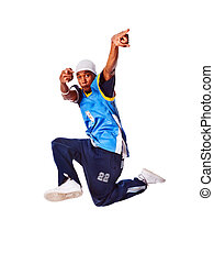 Hip-hop young man making cool move isolated on white background