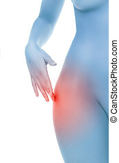 Midsection of female body with hip pain over white background