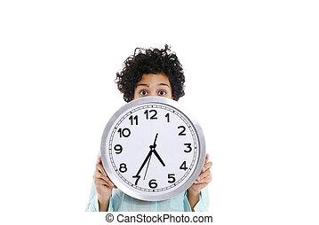 hipanic, mulher segura, grande, relógio, ligado, dela, rosto