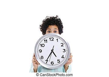 hipanic woman holding big clock on her face