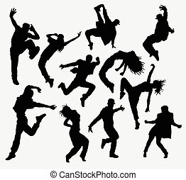Hiphop dance silhouettes - Hip hop male and female dancer...