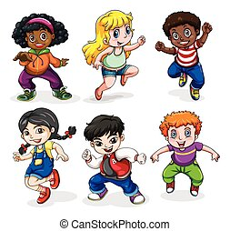 Hiphop dancers - Illustration of the hiphop dancers on a...