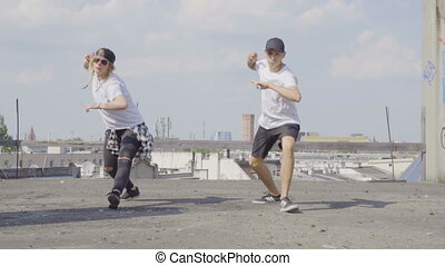 Hiphop dancers on the rooftop