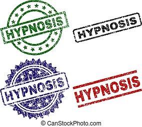 hipnose, danificado, textured, selos, selo