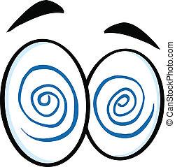 hipnotizado, caricatura, olhos