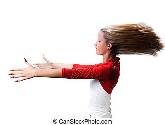 hipnotyzowany, młody, odizolowany, włosy, napięty, tło, ręki naprzód, portret, dziewczyna, silny, trzepotliwy, biały, wiatr