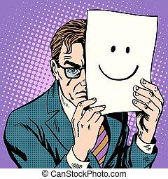 hipocrecia, hosco, sonrisa, cautela, hombre