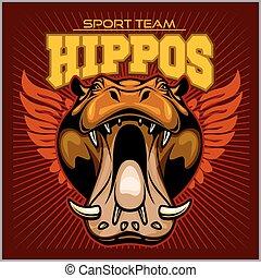 hipopótamo, cabeza, -, deporte, team., mascota, vector, ilustración