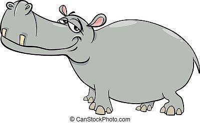 hipopótamo, caricatura, personagem