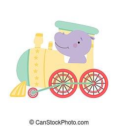hipopótamo, cheeked, montando, trem, engraçado, ilustração, vermelho, vetorial
