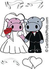 hipopótamo, conjunto, lindo, caricatura, boda