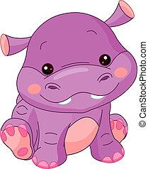 hipopótamo, diversión, zoo.