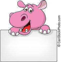 hipopótamo, em branco, caricatura, sinal