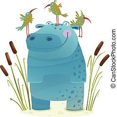 hipopótamo, fauna, niños, lindo, sonriente, amigos, aves
