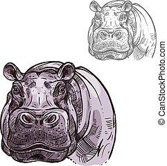 hipopótamo, hipopótamo, animal salvaje, vector, bosquejo, icono