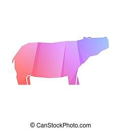 hipopótamo, multicolor, gradiente, rosa, púrpura