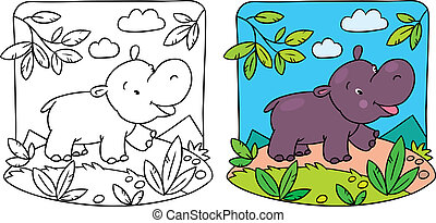 hipopótamo, pequeno, tinja livro