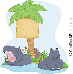 hipopótamo, tábua, sinal