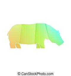 hipopótamo, verde, naranja, multicolor, gradiente