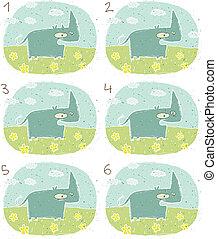 hipopótamo, visual, jogo, feliz