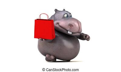 hipopotam, -, wyścigi, ożywienie, zabawa, 3d